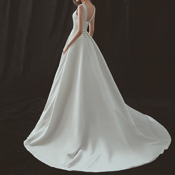 A-Line Court Train Open Back Satin Wedding Dress