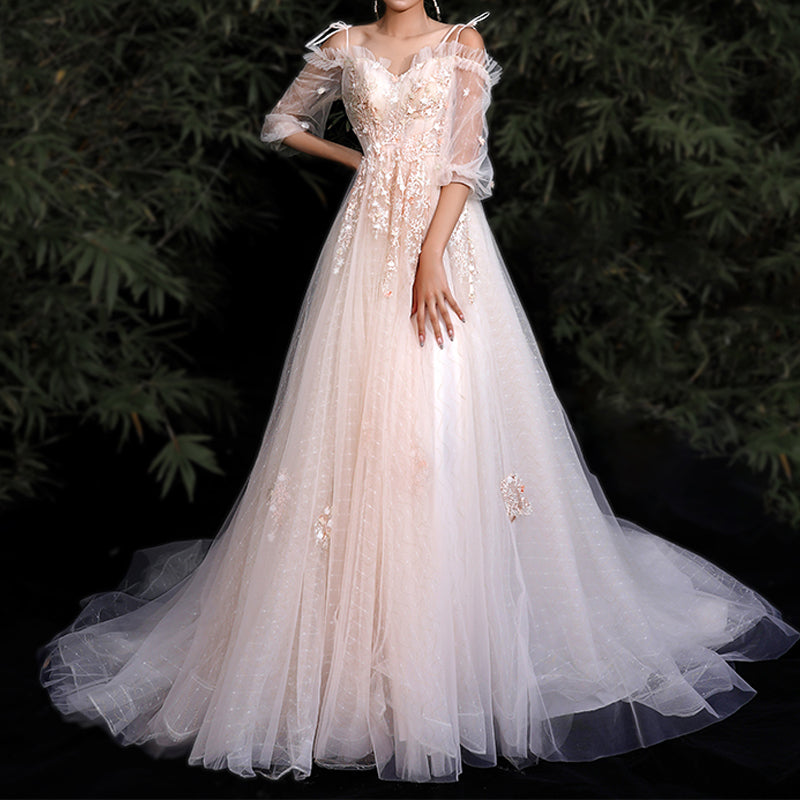 A-Line Court Train Tulle And Lace Wedding Dress