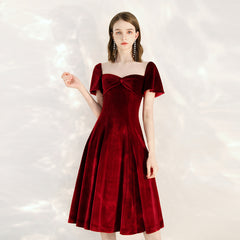 A-Line Knee-Length Velvet Fabric Dress