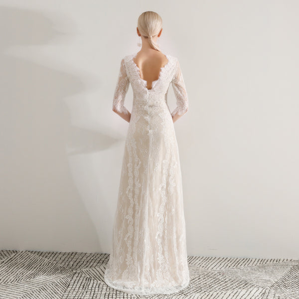Sheath Court Train Tulle And Lace Wedding Dress