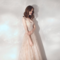 A-Line Sweep-Brush Train Chiffon And Tulle Bridesmaid Dress