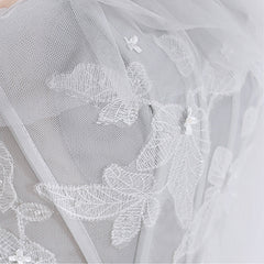 A-Line Sweep-Brush Train Tulle Wedding Dress