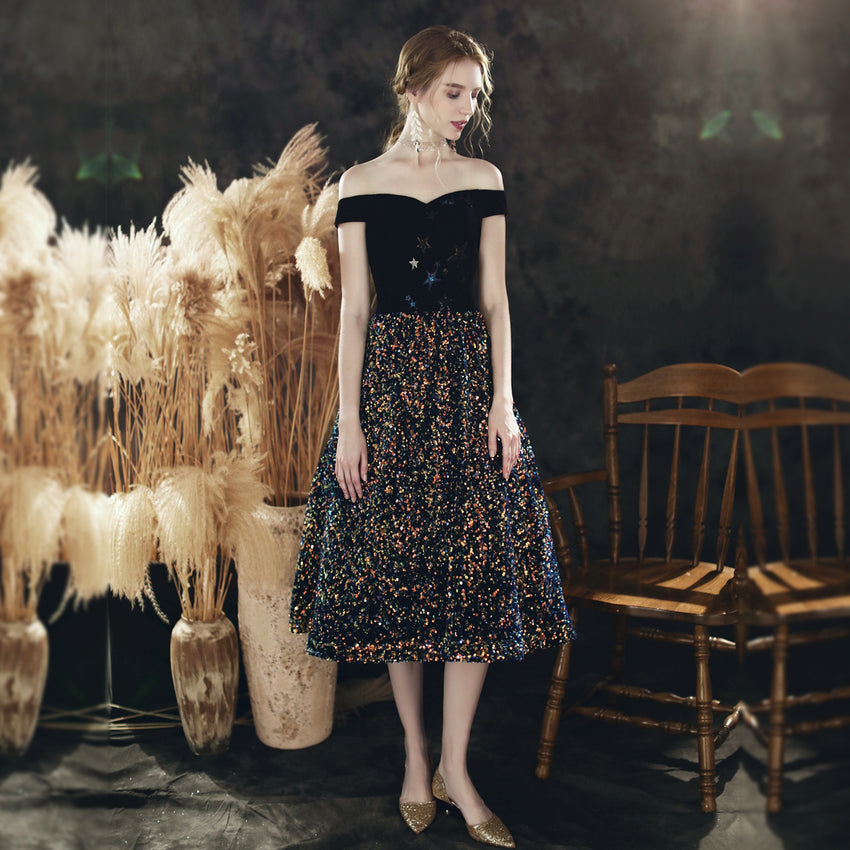 A-Line Tea-Length Dress with Sequined