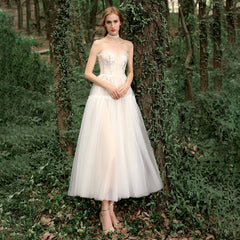 A-Line Tea Length Tulle Wedding Dress with Pleating
