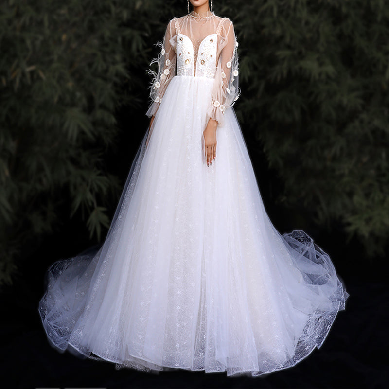 A-Line Court Train Tulle And Lace Wedding Dress with Detachable Sleeves