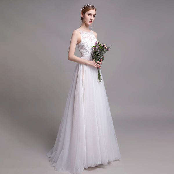 Bohemian A-Line Court Train Tulle Wedding Dress