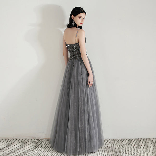 Crystals A-Line Sweep-Brush Train Tulle Dress with beading