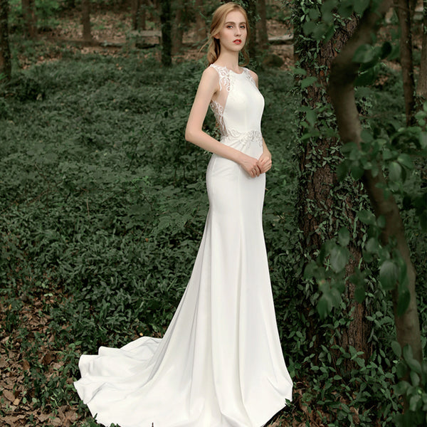 Mermaid Court Train Satin Wedding Dress