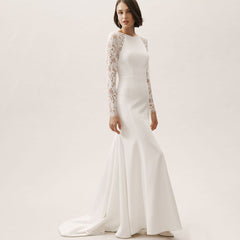 Mermaid Court Train Stain Wedding Dress
