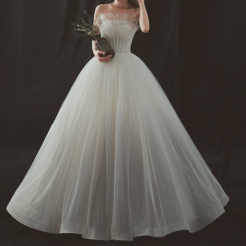 Princess Sweep-Brush Train Tulle and Lace Gradient Wedding Dress