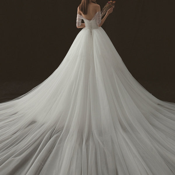 Princess Court Train Lace And Tulle Wedding Dress