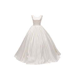 Princess Court Train Satin Wedding Dress