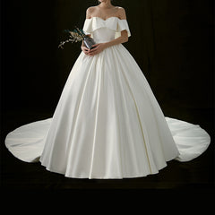 Princess Court Train Off The Shoulder Satin Wedding Dress