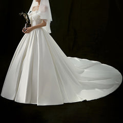 Princess Court Train Silk Satin Wedding Dress
