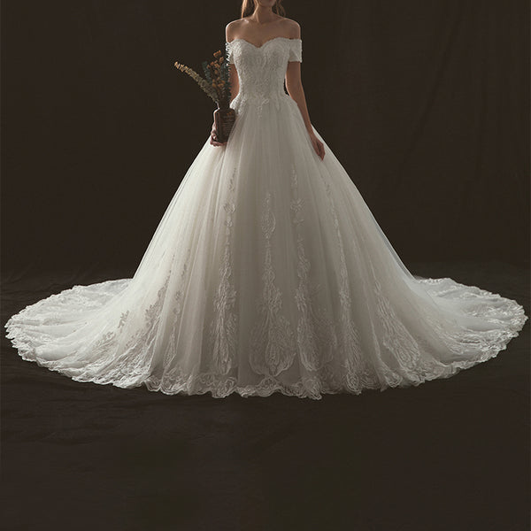 Princess Court Train Tulle Wedding Dress