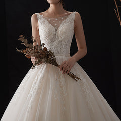 Princess Sweep-Brush Train V-neck Tulle Wedding Dress