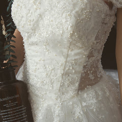 Princess Court Train Lace And Tulle Wedding Dress With Detachable Straps