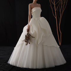 Princess Sweep-Brush Train Lace-up Tulle and Satin Wedding Dress