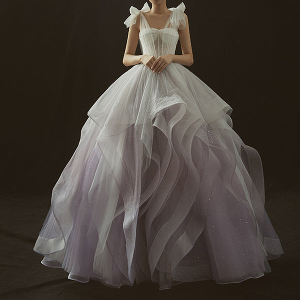 Princess Sweep-Brush Train Tulle Gradient Wedding Dress