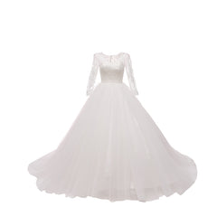 Princess Court Train Tulle And Lace Wedding Dress