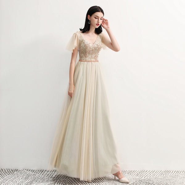 Sparkle A-Line Ankle Length Tulle Bridesmaid Dress with Beading