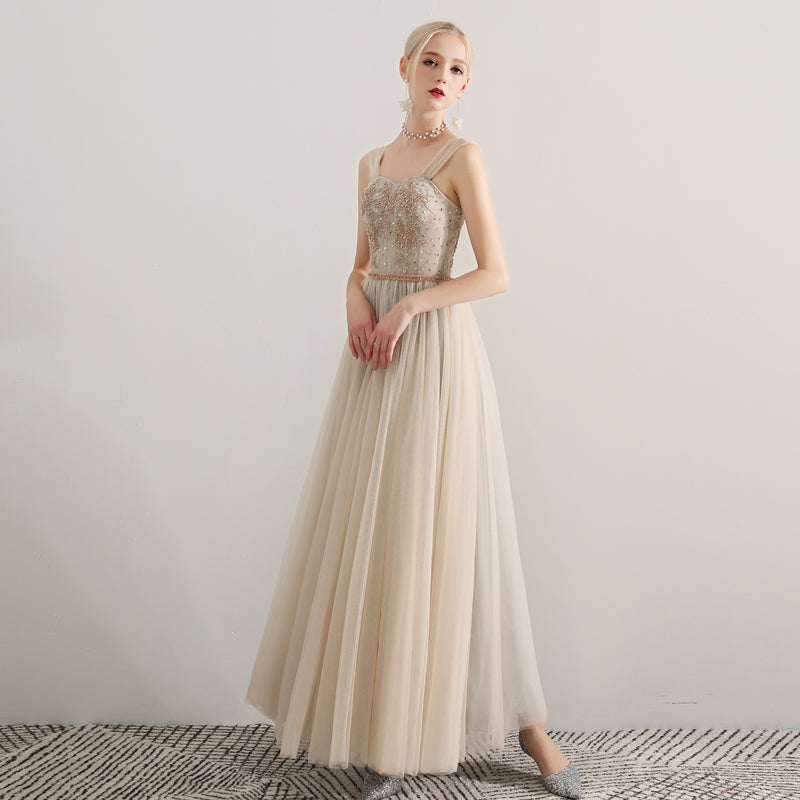 Sparkle A-Line Ankle-length Tulle Bridesmaid Dress with Sashes
