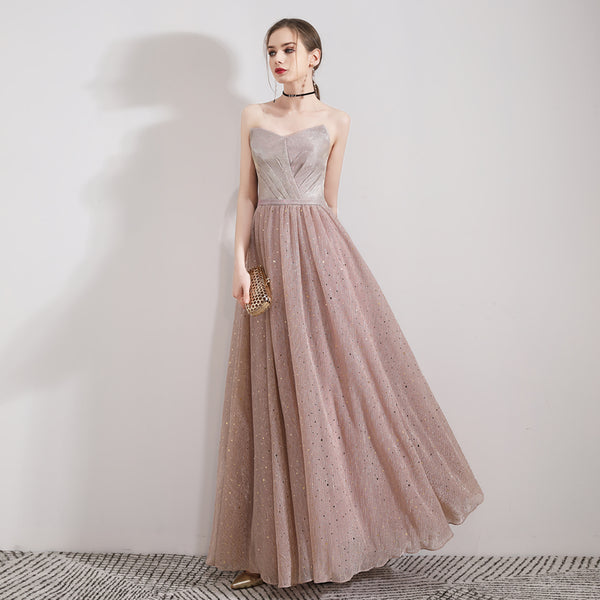 Sparkle A-Line Ankle Length Tulle Dress with Beading