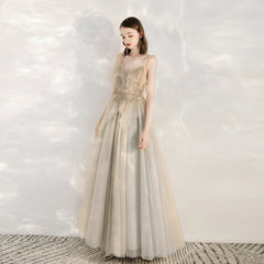 Sparkle A-Line Ankle-length Tulle Dress with Beading