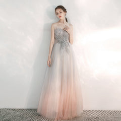 Sparkle A-Line Floor Length Tulle Dress with Beading