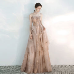 Sparkle A-Line Sweep-Brush Train Tulle Dress with Beading