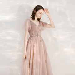 Sparkle A-Line Floor Length Tulle Dress with Sashes