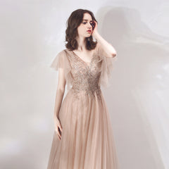 Sparkle A-Line Floor Length Tulle Dress with Sequins