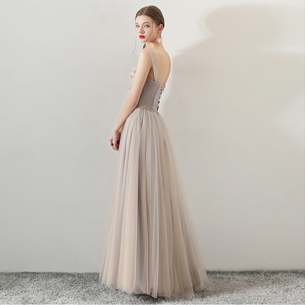 Sparkle A-Line Tulle Bridesmaid Dress with Sashes