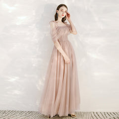 A-Line Ankle Length Tulle Dress with Beading