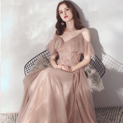 Sparkle A-Line V-neck Tulle Dress with Beading