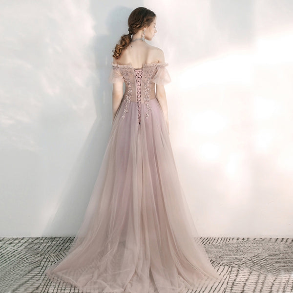 Sparkle Princess Off-The-Shoulder A-Line Court Train Tulle Wedding Dress