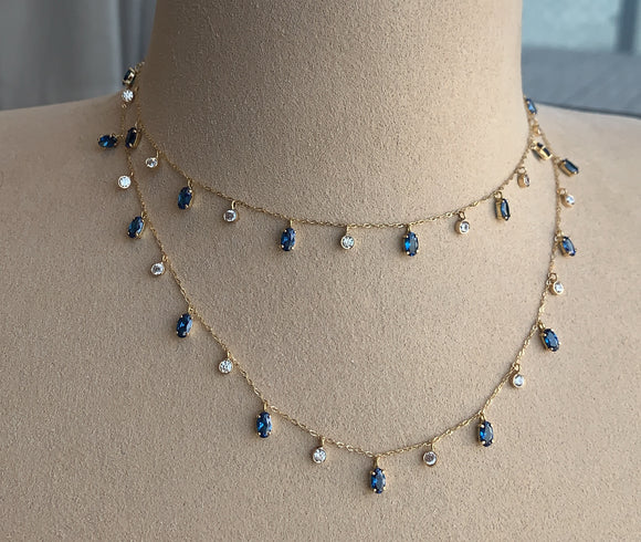 Double layer Oval Drops Necklace