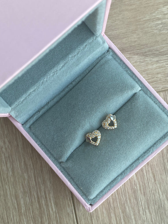 21k Earrings - Heart - Amal Al Majed Jewellery