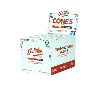 "Papes Hemp Cones - 180 per Box - 30x 6-packs - 1 1/4"" Size (84/26mm)"