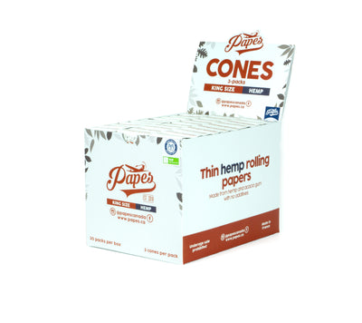 Papes Hemp Cones - 90 per Box - 30x 3-packs - King Size (109/26mm)