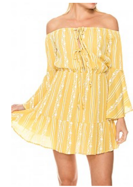 Yellow Ruffle Hem Dress