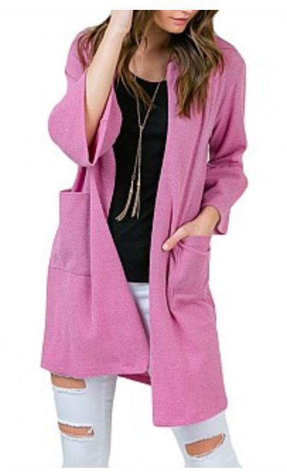 Pink Open Cardigan Jacket