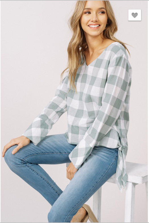 Mint Gingham Top