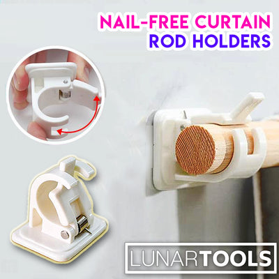 Nail-Free Curtain Rod Holders