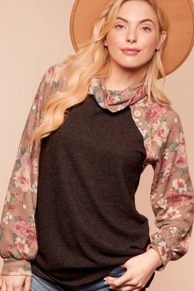 Floral Sleeve Cowl Neck