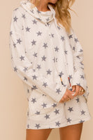 Star Print Cowl Neck