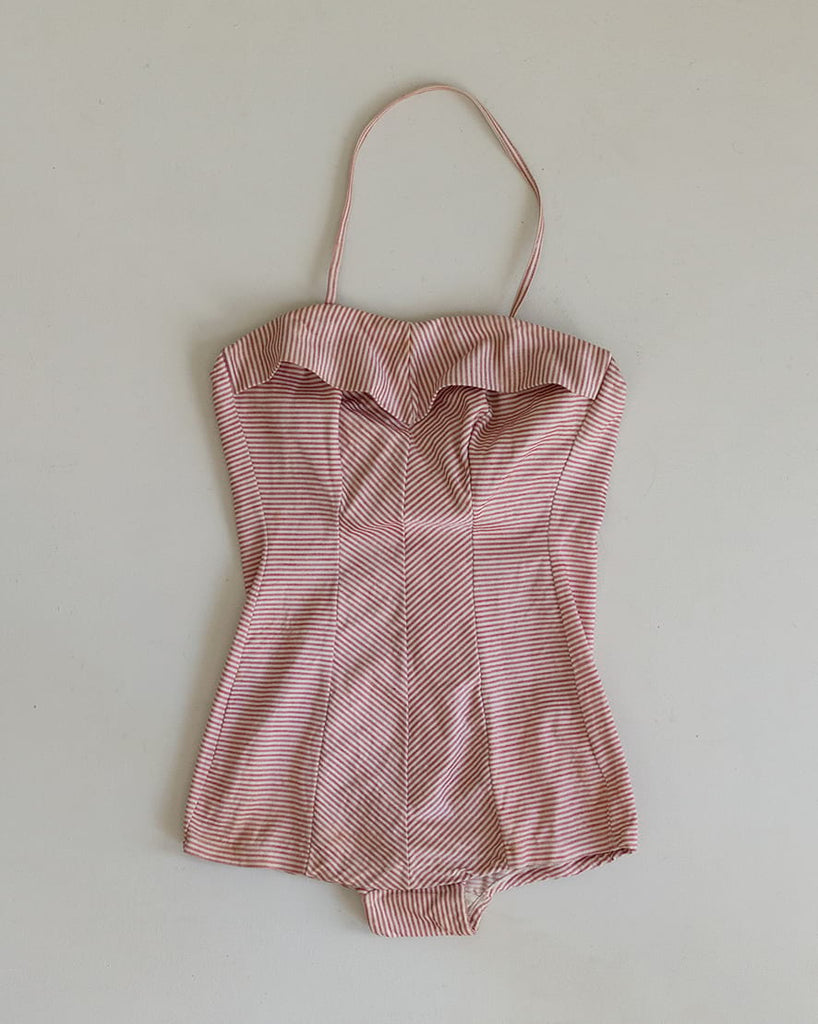 1940s 50s Striped Bathing Suit