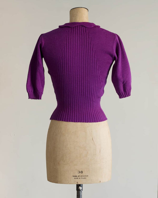 1940s Purple Ribbed Sweater