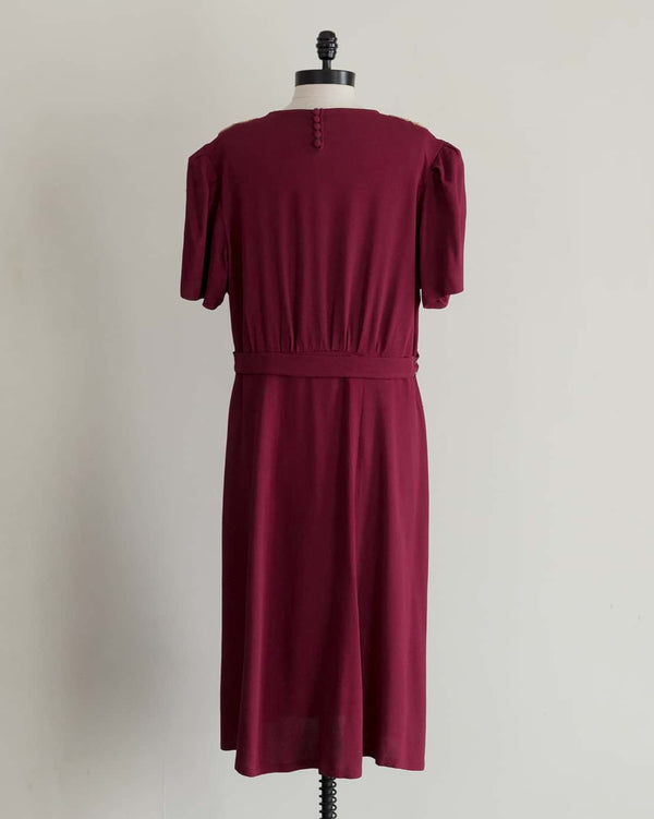 40s Plum Soutache Dress