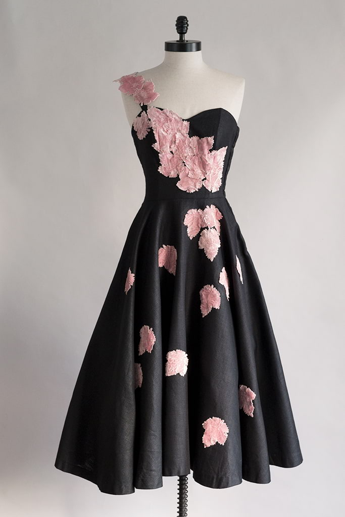 Gaia Dress | 1950s Black One Shoulder Cocktail Dress w Velvet Appliques